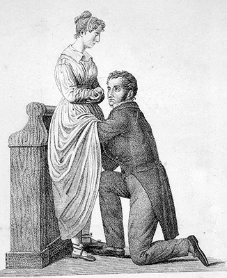 Doctor examining a woman's genitals with his hand up her skirt.